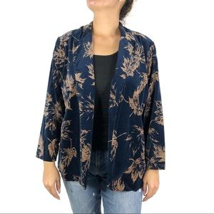Blue Velvet Leaf Print Open Blazer Jacket Large
